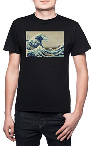 La camiseta de manga corta de La gran ola de Hokusai. Camiseta unisex negra. Camisetas de fractales.