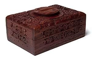 trouver quelque chose de différent Yin Yang Boîte pour Tarot en Bois Sculpté, Bambou, Multicolore