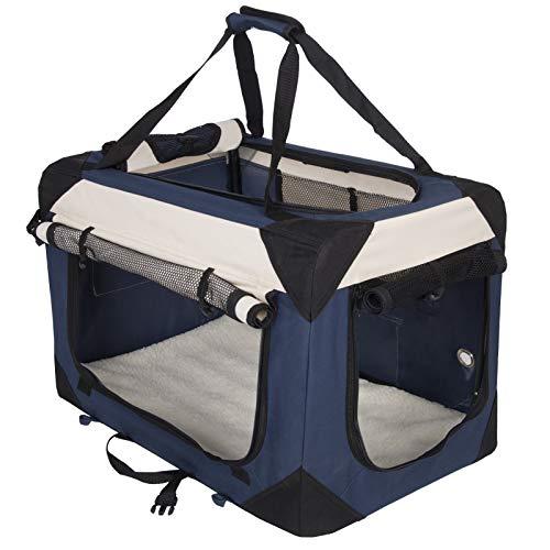 EUGAD Hundebox Faltbar Hundetransportbox Auto Transportbox Reisebox Katzenbox Box mit Hundedecke Oxford Klassisch Blau 0322HT