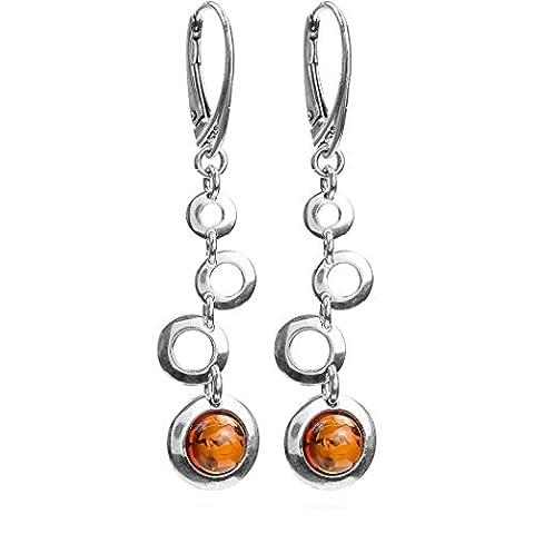 Baltic Honey Amber Sterling Silver Alien Space Earrings