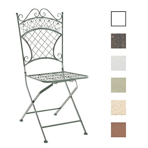 CLP Chaise de Jardin Pliante ADELAR - Chaise de Balcon en Fer Forgé avec Hauteur d'Assise 47 cm - Meuble de Terrasse et pour Usage Extérieur Disponible - Hauteur Dossier 52 cm - Couleurs au Choix vert antique
