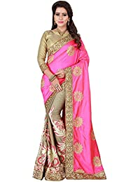 Craftsvilla Womens Satin Silk Embriodery Half & Half Pink & Beige Saree With Blouse Piece