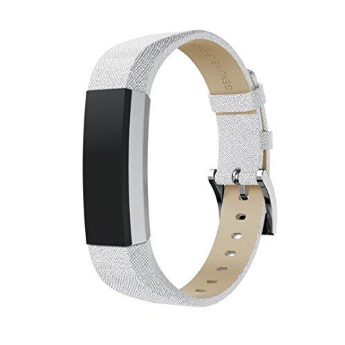 squarex Klassisches Leder-Armband mit Metallsteckern für Fitbit Alta/Fitbit Alta HR, Damen, I, AS Show