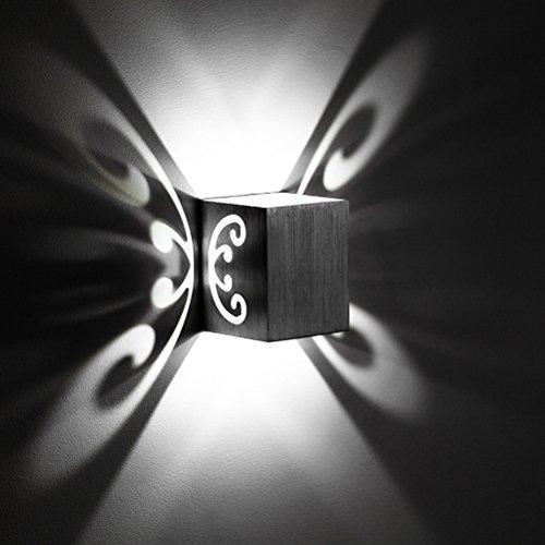 LED Wandleuchte Modern Stil Design mit tollen Schatteneffekten Abstrahlwinkel Schöner Effektlampe Wandstahler Flurlampe Aluminium Wandlampe Wand Sconce Beleuchtung Innen Wandbeleuchtung (Kaltweiß) -