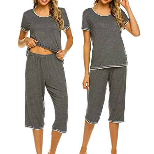 Unibelle Damen Einfarbige Pyjama Set, Zweiteiliger Modal Kurzarm Schlafanzug Hellgrau S (Damen Modal Pyjama-sets)
