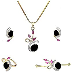 M CREATION Combo of Gold Plated American Diamond Pendant with Earrings, Bracelet and Ring for Women (Black)