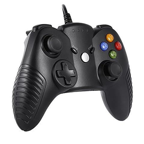 Manette de jeu filaire LESHP pour Windows PC Xbox 360 Noir