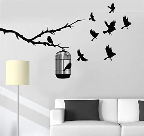 Dekoraufkleber Wände Kunstwort-Sprüche Entfernbare Beschriftungs-Baumast-Vögel, die aus Käfig-Natur heraus fliegen
