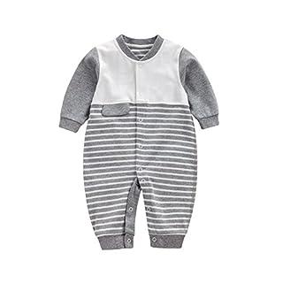 Feicuan Baby Strampler Jungen Mädchen Overall, Baumwolle Outfit Schlafanzug mit Streifen Casual Langarm Babykleidung 1-12 Monate