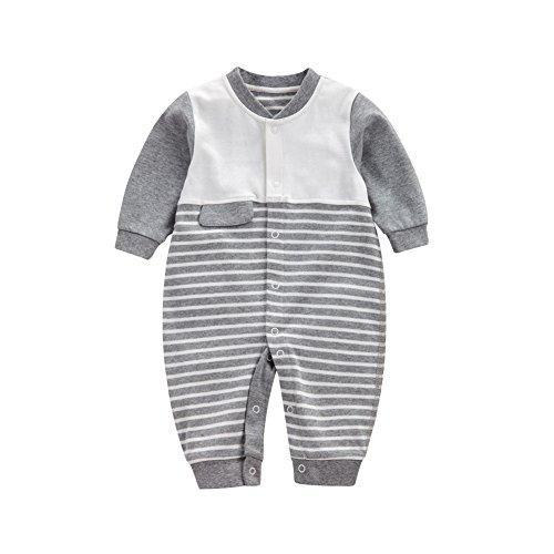 (Baby Strampler Jungen Mädchen Overall,Feicuan Baumwolle Outfit Schlafanzug mit Streifen Casual Langarm Babykleidung 1-12 Monate)