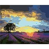 DAMENGXIANG DIY Hand Gemalt Digitale Ölbild Sonnenuntergang Landschaft Moderne Abstrakte Kunst Bilder Für Wohnzimmer Home Decor