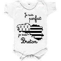 Body bébé breizh, je suis parfait, je suis breton, body bébé 100% breton, body bébé humoristique
