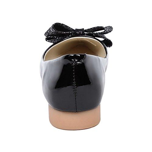 VogueZone009 Donna Pelle Di Maiale Tirare Scarpe A Punta Punta Chiusa Tacco Basso Puro Ballerine Nero