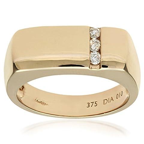 Naava Men's Diamond Trilogy Ring, 9 ct Yellow Gold set with Three Stones