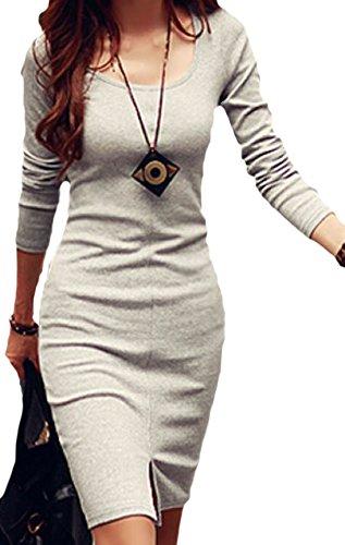 erdbeerloft - Damen kurzes Basic Kleid mit Schlitz, langarm, Viele Farben Natur