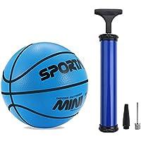Pelota de baloncesto mini para interior o piscina para niños, blanda, rebota, 12,7 cm de diámetro, Blue + Pump