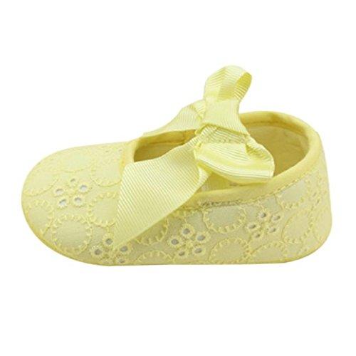 Fulltime®Infant Fille Prewalker Coton Ruban bowknot Bas Doux Fleur Jaune