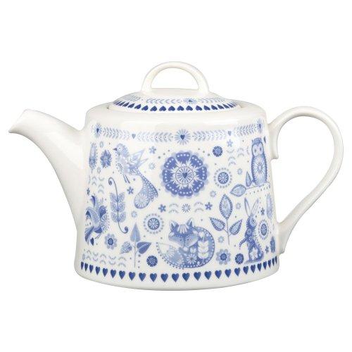Queens Penzance - Tetera (porcelana china), color blanco y azul