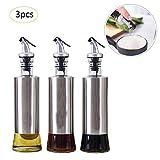 Luckybaby Olivenölspender – Öl/Essig-/Saucenflaschen 3er-Pack Set Edelstahl-Trichter – 300 ml Olivenöl-Spender, Saucen-Flasche Küchenflaschen Glas Geschenkset