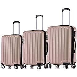 BEIBYE TSA-Schloß 2080 Zwillingsrollen 3 TLG. Reisekofferset Koffer Kofferset Trolley Trolleys Hartschale (Rosa Gold)