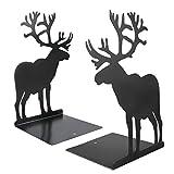 Powcan Fermalibri in metallo nero da 1 coppia Fashion Elk Moose Design Book Divisori Organizzatore di libri robusti durevoli non antiscivolo