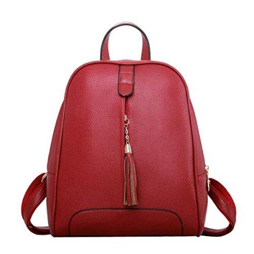 Student Umhängetasche Einfach Quaste Reisetasche Lässig Rucksack Red