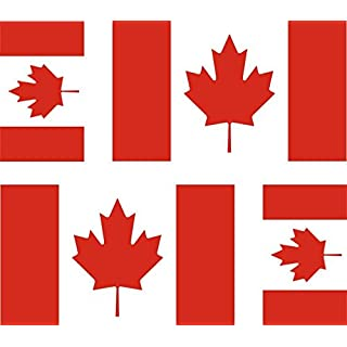 Akacha 4x Canadian Flag Stickers for Car / Motorcycle / Suitcase / Laptop