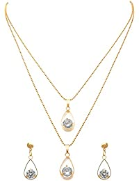 JFL - Exqusitie & Ethnic One Gram Gold Plated Red & Green Cz American Diamond Designer Peacock Necklace Set For...
