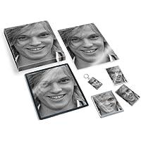JAMIE CAMPBELL BOWER - Original Art Gift Set #js001 (Includes - A4 Canvas - A4 Print - Coaster - Fridge Magnet - Keyring - Mouse Mat - Sketch Card) #js003