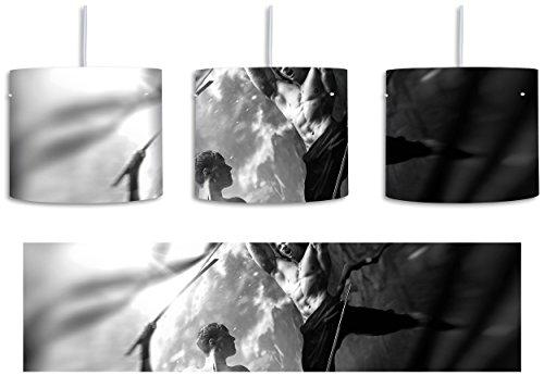 Kämpfende Krieger mit scharfem Schwert Kunst B&W inkl. Lampenfassung E27, Lampe mit Motivdruck, tolle Deckenlampe, Hängelampe, Pendelleuchte - Durchmesser 30cm - Dekoration mit Licht ideal für Wohnzimmer, Kinderzimmer, Schlafzimmer (Bw-tote)