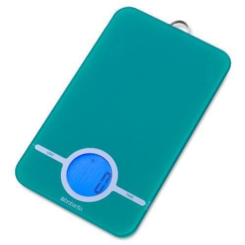 Brabantia 482564 Essential Bilancia da Cucina Digitale, da 1 g a 5 kg, Caribbean Blue