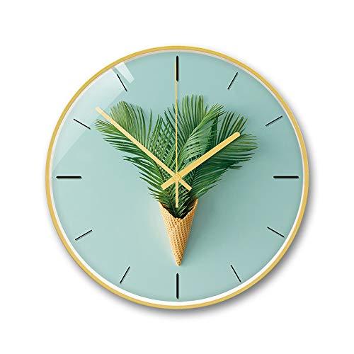 CHLCH Kreative nordische Wanduhr große Wanduhr stumm für Küche/Schlafzimmer/Wohnzimmer/kreative Uhr Haus grüne Pflanze EIS 12 Zoll lokalen Gold