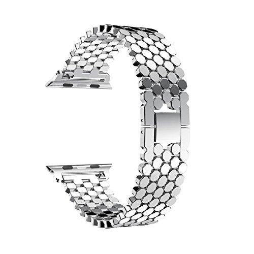 komise Edelstahl Langlebig Sechseck Muster Band Ersatz Handschlaufe für Apple Watch Serie 342mm Einheitsgröße silber (Watch Bands Ersatz Seiko)