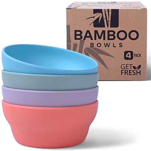 Get Fresh Bambus Schalen, 4er-Set Bambus Geschirr, Umweltfreundliches Geschirr Set, Erwachsene Bambusschalen für den täglichen Gebrauch, BPA-frei (mehrere Farben), spülmaschinenfest und stapelbar