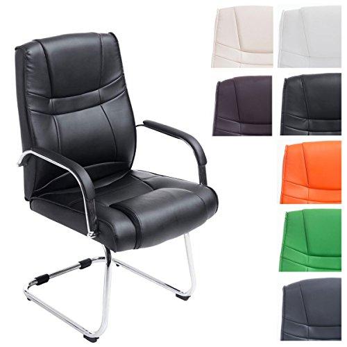 CLP XXL Freischwinger-Stuhl mit Armlehne ATTILA, belastbar bis 180 kg, gepolstert schwarz
