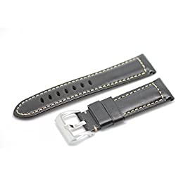 Blenheim London® Vintage 24mm Black Hand Made Genuine Leather and Stainless Steel Pin Buckle Watch Strap