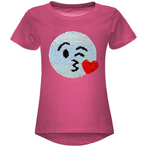 emoji shirt mit wendepailletten BEZLIT Mädchen Wende-Pailletten Stretch T-Shirt Smile-Motiv 22606 Pink Größe 116