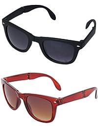 Gansta UV Protective Unisex Black Folding Wayfarer Sunglasses Combo For Men & Women- (GN11039-Combo-Blk-Brn|54...