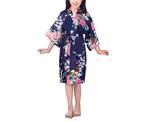 xingyueshop Children Girls Silk Robes Satin Robe Short Floral Peacock Japan Kimono Stain Sleepwear Navy 10