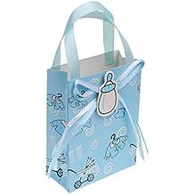 Gazechimp 12pcs Bolsas de Regalo de Bautizo de Bebé Decoración de Fiesta de Cumpleaños Azul/Rosado -