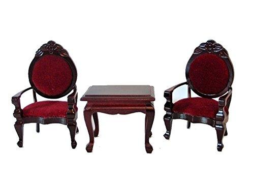 Polstergruppe Polsterstuehle Tisch 3 Teile Mahagoni/rot Puppenhausmöbel Miniatur 1:12 (Mahagoni Wohnzimmer Sessel)