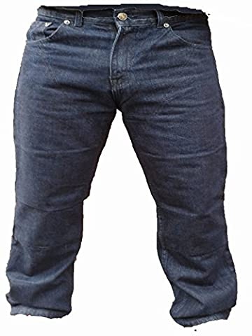 Australian Bikers Gear Dark Blue Kevlar Classic Jeans Motorcycle CE Armoured (32R) - 32R