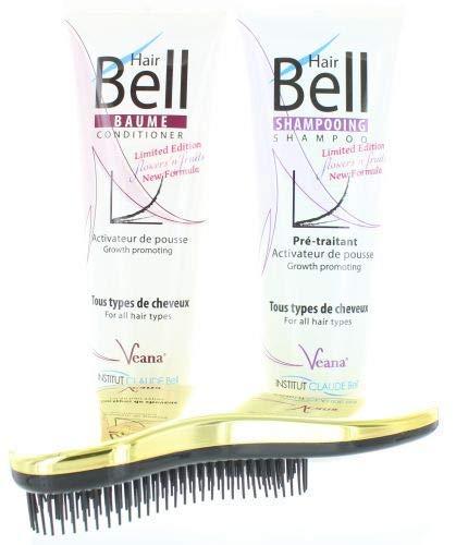 HairBell Shampoo + Conditioner flowers and fruits + DeTangler gold metallic Haarwachstum beschleunigen, Hair shampoo für haarwachstum, Anti Haarausfall für dünnes Haar, gegen Haarausfall