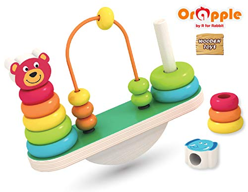 Orapple Toys by R for Rabbit - See Saw Balance Stacker Wooden Stacking Rings Toys for Baby/Kids-Learning & Educational Toys for Boys & Girls of 1.5,2,3,4 Years Old Age