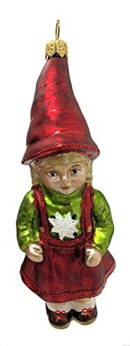 Pinnacle German Alpine Girl with Edelweiss Sweater Polish Glass Christmas Tree Ornament Alpine Girl