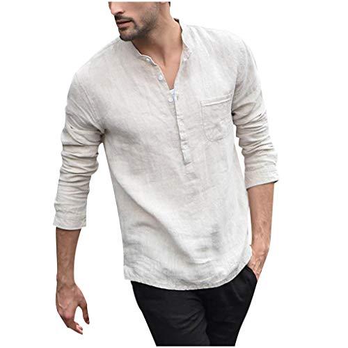 TWISFERHemd Herren Einfarbig Leinenhemd Herren Freizeithemd Henley Langarm Regular Fit Kragenloses Shirt mit Tasche -