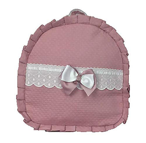 Mochila personalizable para niña en pique rosa con putilla blanca. Modelo Laila. (Children: S)