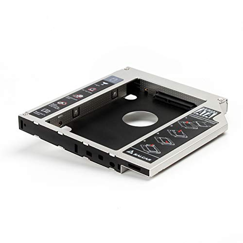 Salcar -2.HDD/SSDSATA 3.0 (SATA III) Festplattenrahmen Caddy für 12,7mm SATA 2,5 Zoll festplatte (Aluminium)