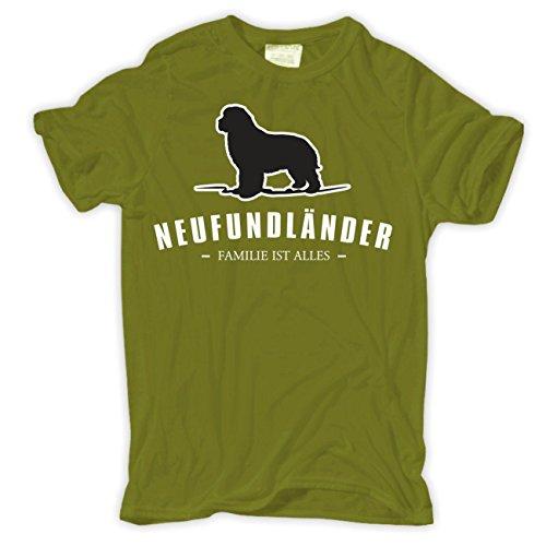 Männer und Herren T-Shirt Neufundländer - Familie ist alles Größe S - 8XL  Moosgrün
