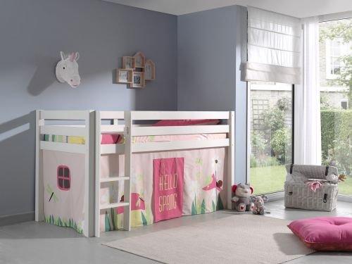 """Spielbett Pino mit Textilset Vorhang """"Spring"""", Kiefer massiv weiß lackiert"""